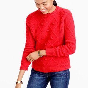 J. Crew Women's Red Pom-Pom Cable Knit Sweater S